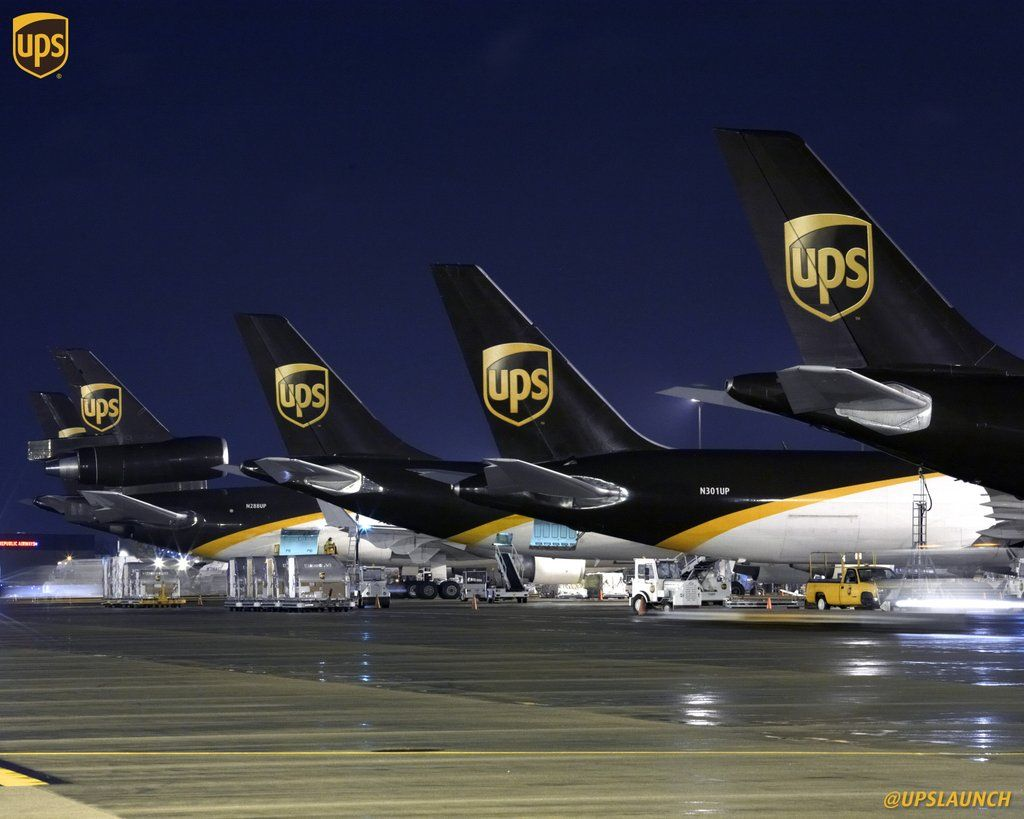 Fleet Of UPS cargo planes at the Worldport facility in the