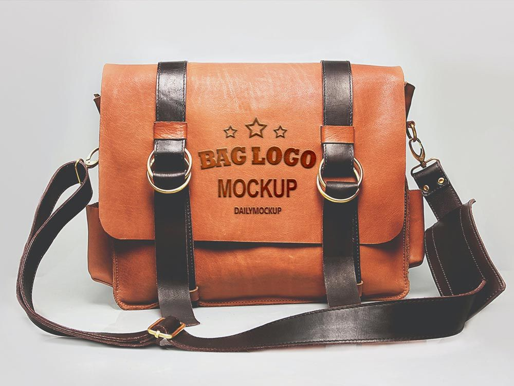 Download Free Embossed Logo Mockup On Leather Bag Logo Mockup Bags Embossed Logo