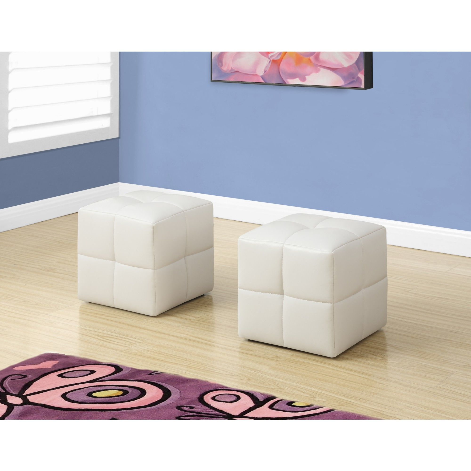 Wondrous Monrach 2 Piece Juvenile Ottoman Set White Leatherette In Onthecornerstone Fun Painted Chair Ideas Images Onthecornerstoneorg