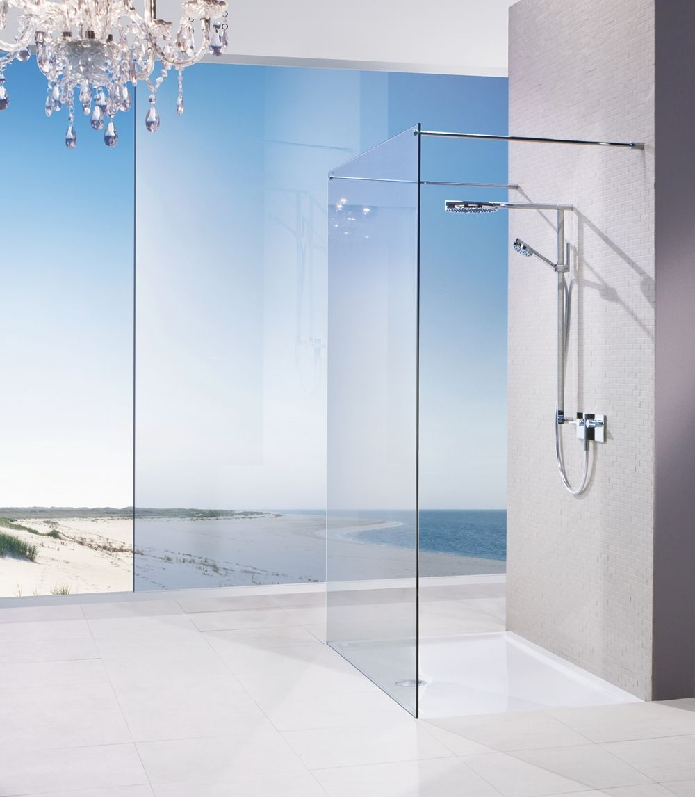 Elegant frameless glass shower panel from Aston Matthews http://www ...