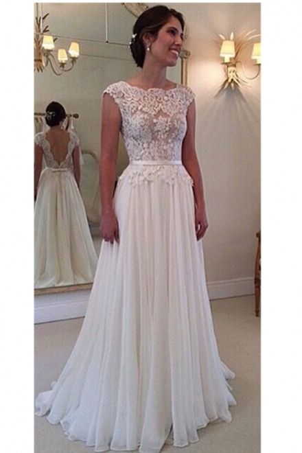 A Line Lace Scalloped Chiffon Open Back Wedding Dress Long Beach Wedding Dresses Ball Gown Wedding Dress Wedding Dresses