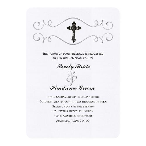 Catholic Wedding Invitation Elegant Celtic Cross