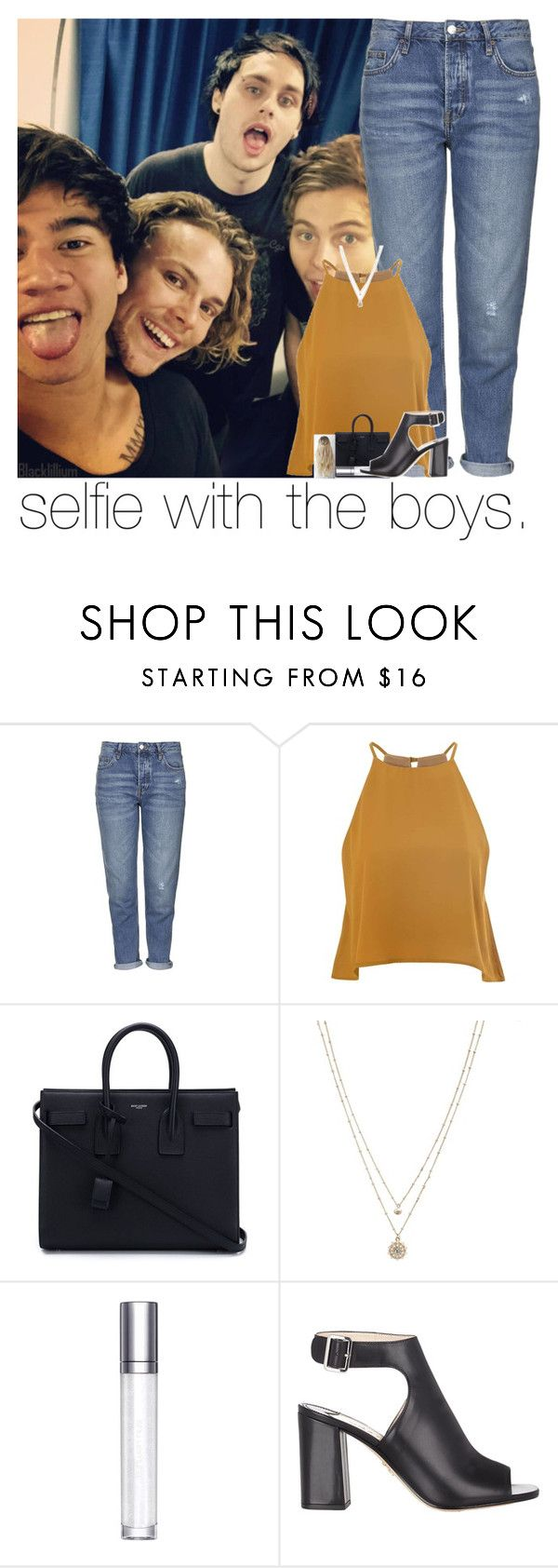 """selfie with the boys."" by sydneykhall ❤ liked on Polyvore featuring Topshop, Glamorous, Yves Saint Laurent, LC Lauren Conrad, shu uemura and Prada"