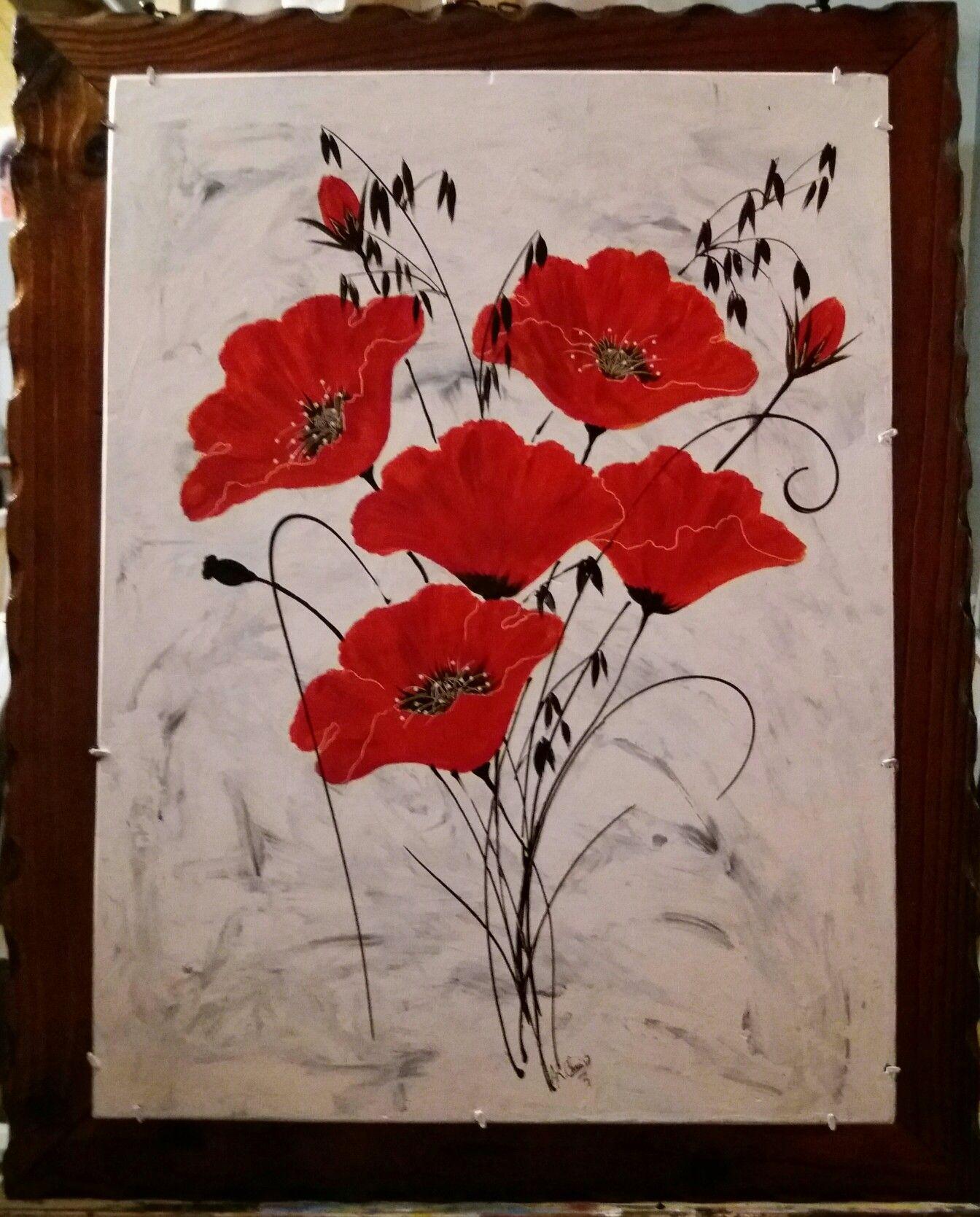Tableau Coquelicots Peinture Acrylique Sur Carton Entoile Et
