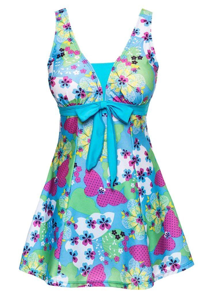 f08d2f153ead8 OUO Swimsuit One Piece Shaping Body Beachwear Swim Dress with Short ...