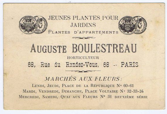 Antique French 19th Century Business Card For A Paris Plant Nursery
