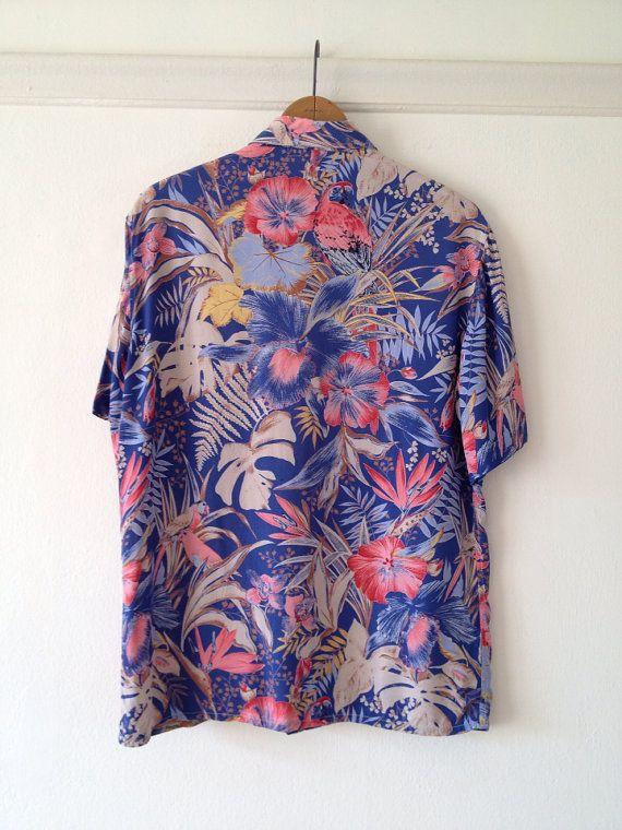 98624db8 cacharel blouse / hawaiian shirt womens / tropical by dinalouiseSF