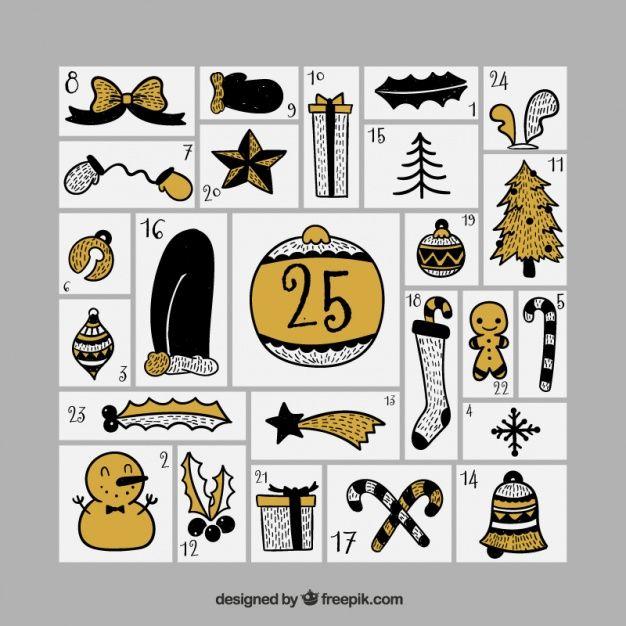 calendário do advento com objetos retros do natal Vetor grátis