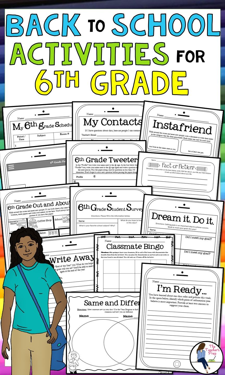 6th Grade Back to School Activities and Icebreakers | Back