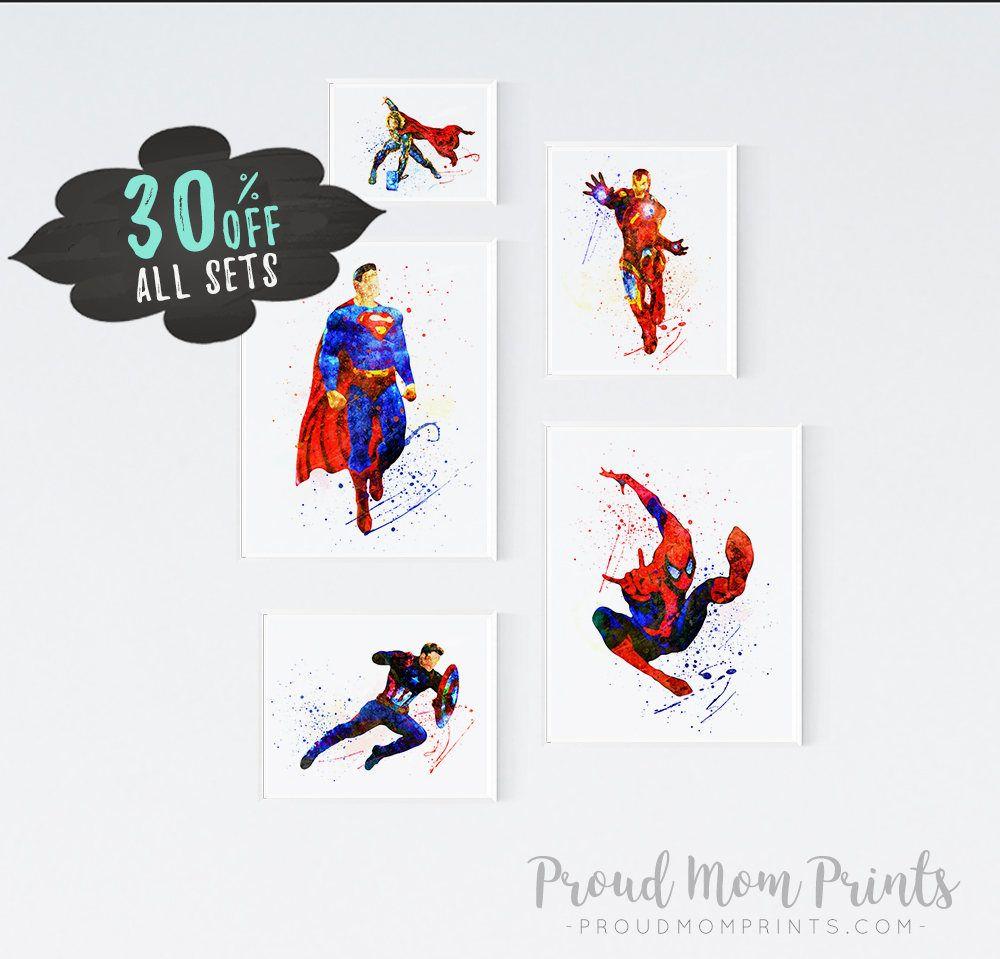 Boy nursery art printable nursery kids room art the avengers superhero wall