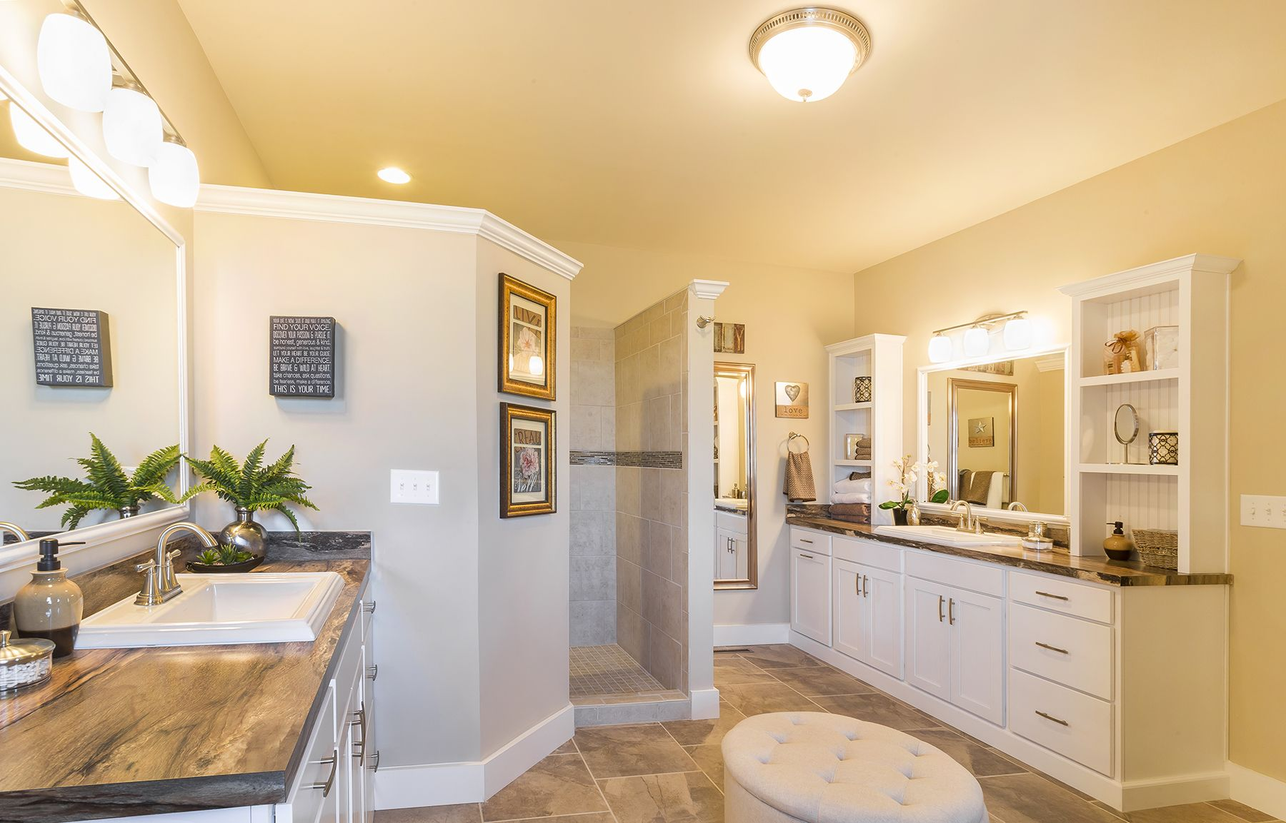 His And Her Sinks On Opposite Sides Of The Master Bathroom No