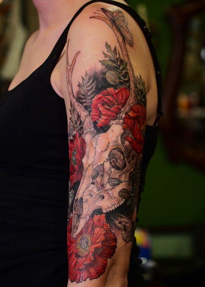 Poppy Half Sleeve Tattoo: Deer Skull And Poppies Brian Thomas Wilson-Portland OR
