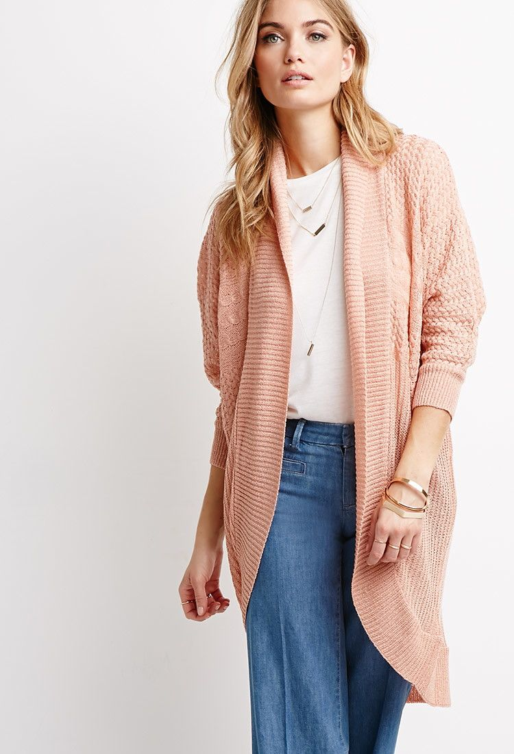 Mixed Knit Dolman Cardigan | Forever 21