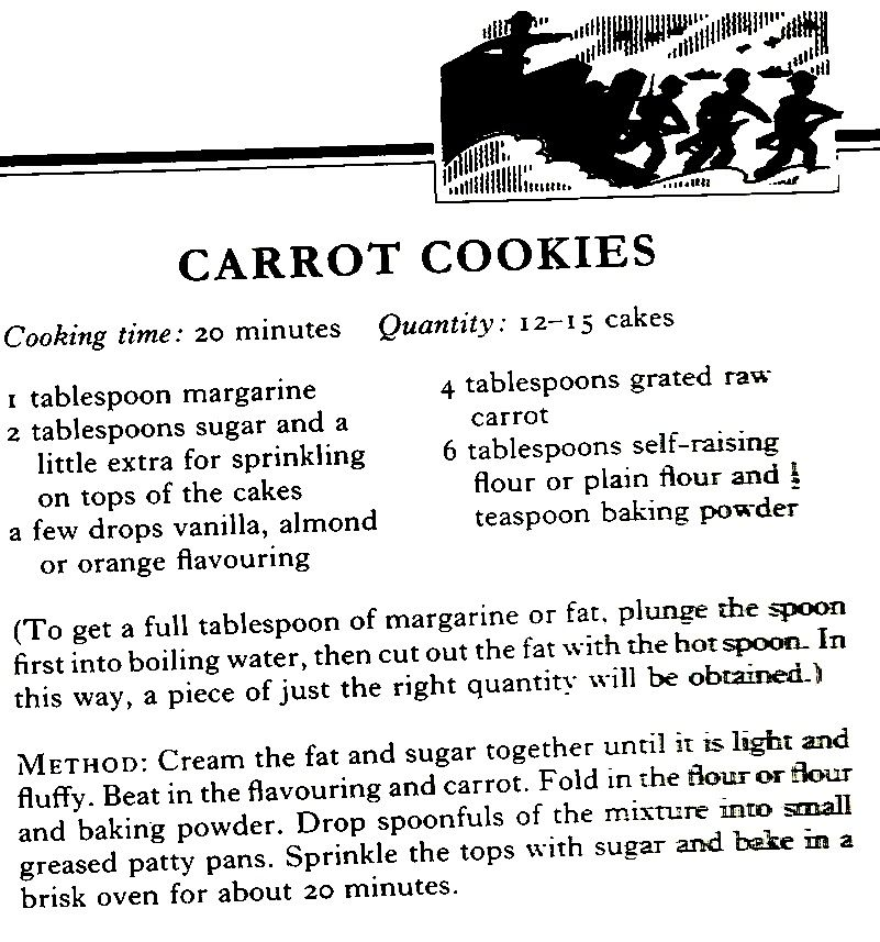 WWII Carrot Cookies (these are tasty, however, the recipe