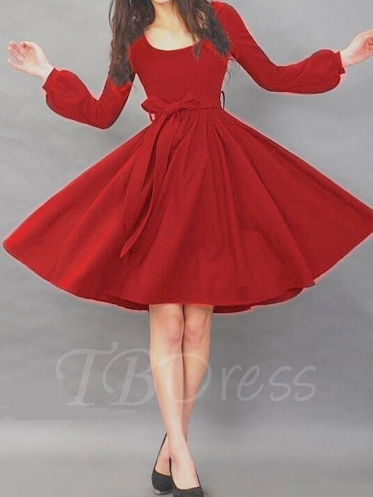 Plain Long Sleeve Women's Day Dress with Belt - m.tbdress.com