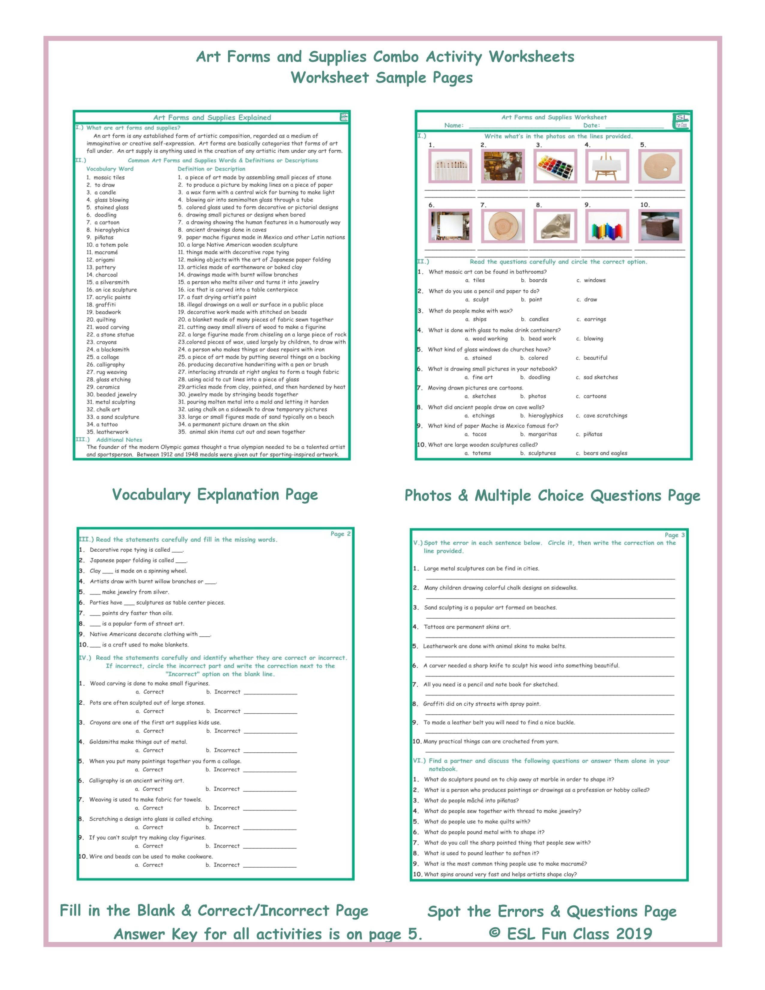 Art Class Worksheets