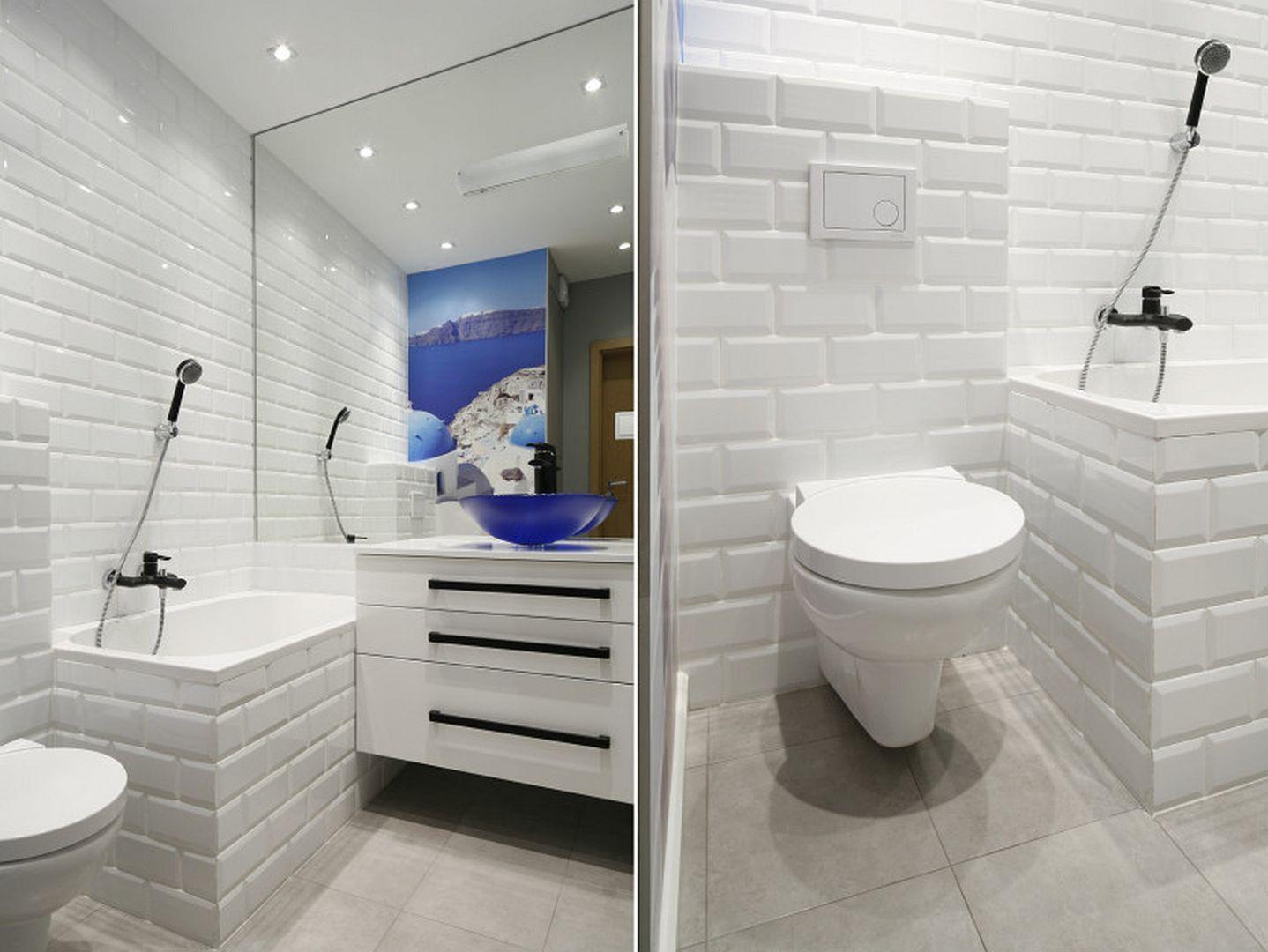 Duże Lustro I Wszechobecna Bieli Sprawiają że łazienka
