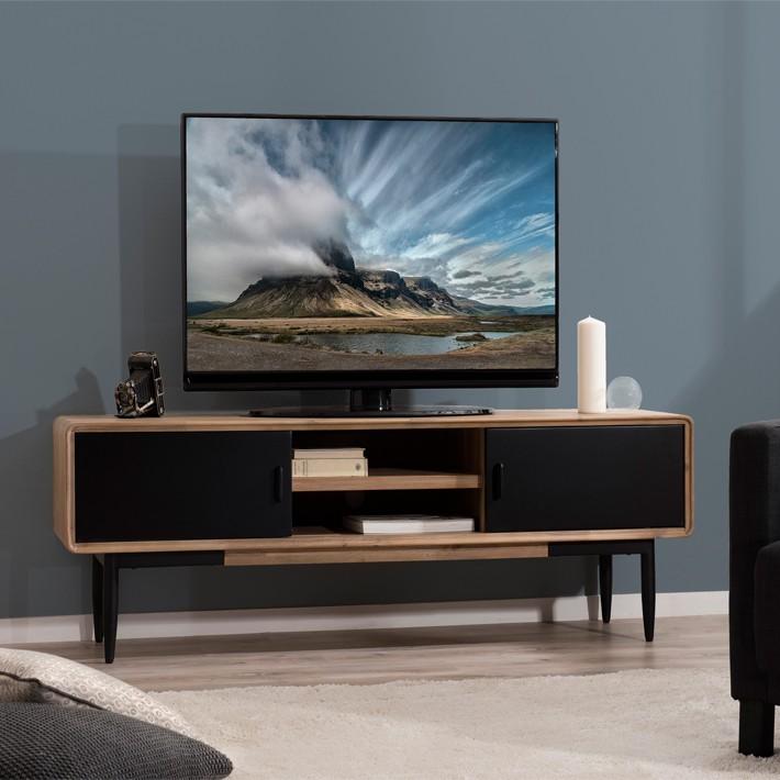Meuble Tv Industriel Noir Et Bois Pour Votre Salon Design Et Elegant Meuble Tv Mobilier De Salon Meuble Tv Industriel