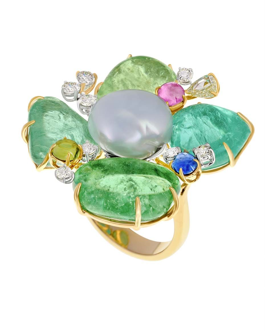 Margot McKinney - Paraiba petal flower ring with a centre pearl.