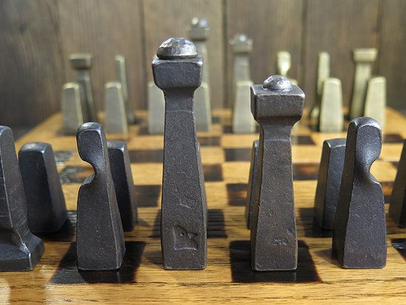 projects ideas metal chess pieces. Blacksmith Chess Set  Metal Collectible Pieces Client Gifts Table Art Office D cor Rustic Industrial