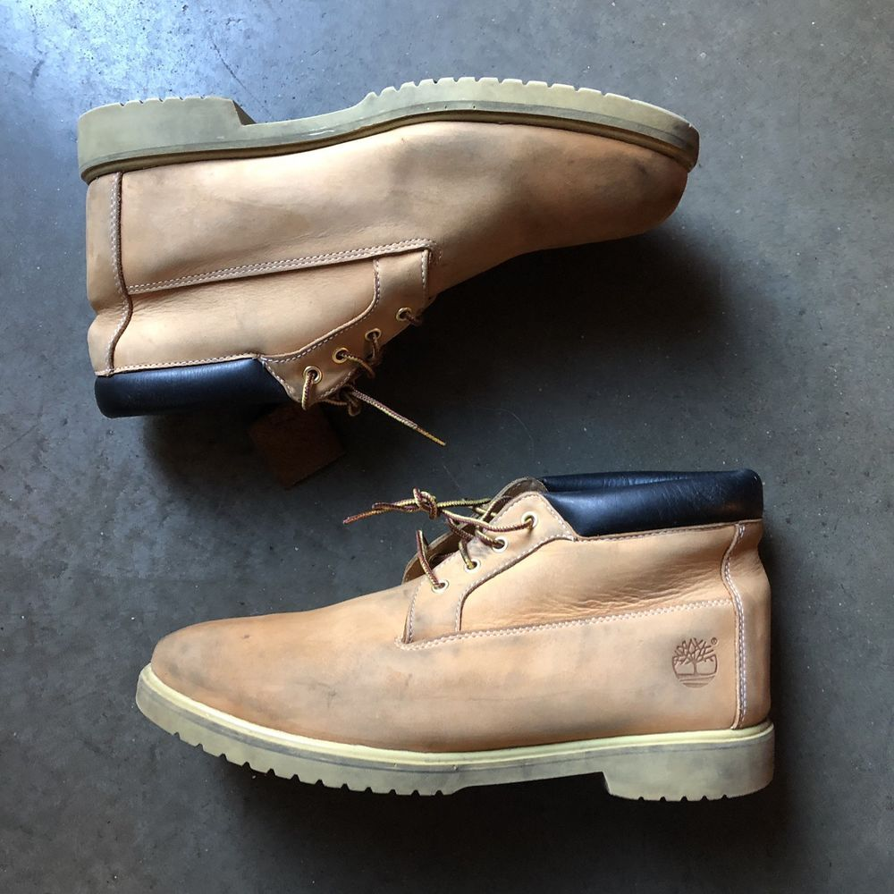 3657aadb58d22 Men's Timberland Waterproof Chukka Wheat Nubuck Tan Leather Work ...