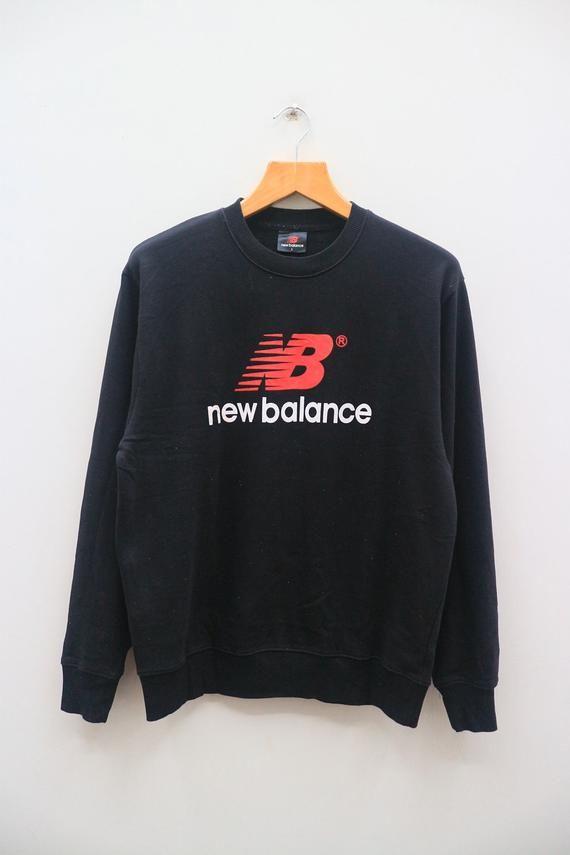 8c9d8d48ec4 Vintage NEW BALANCE Big Logo Big Spell Sportswear Black Pullover Sweater  Sweatshirt Size L