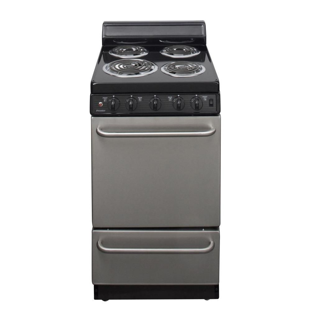 Premier 20 In 2 42 Cu Ft Electric Range In Stainless Steel Eak600bp Freestanding Electric Ranges Electric Range Small Stove
