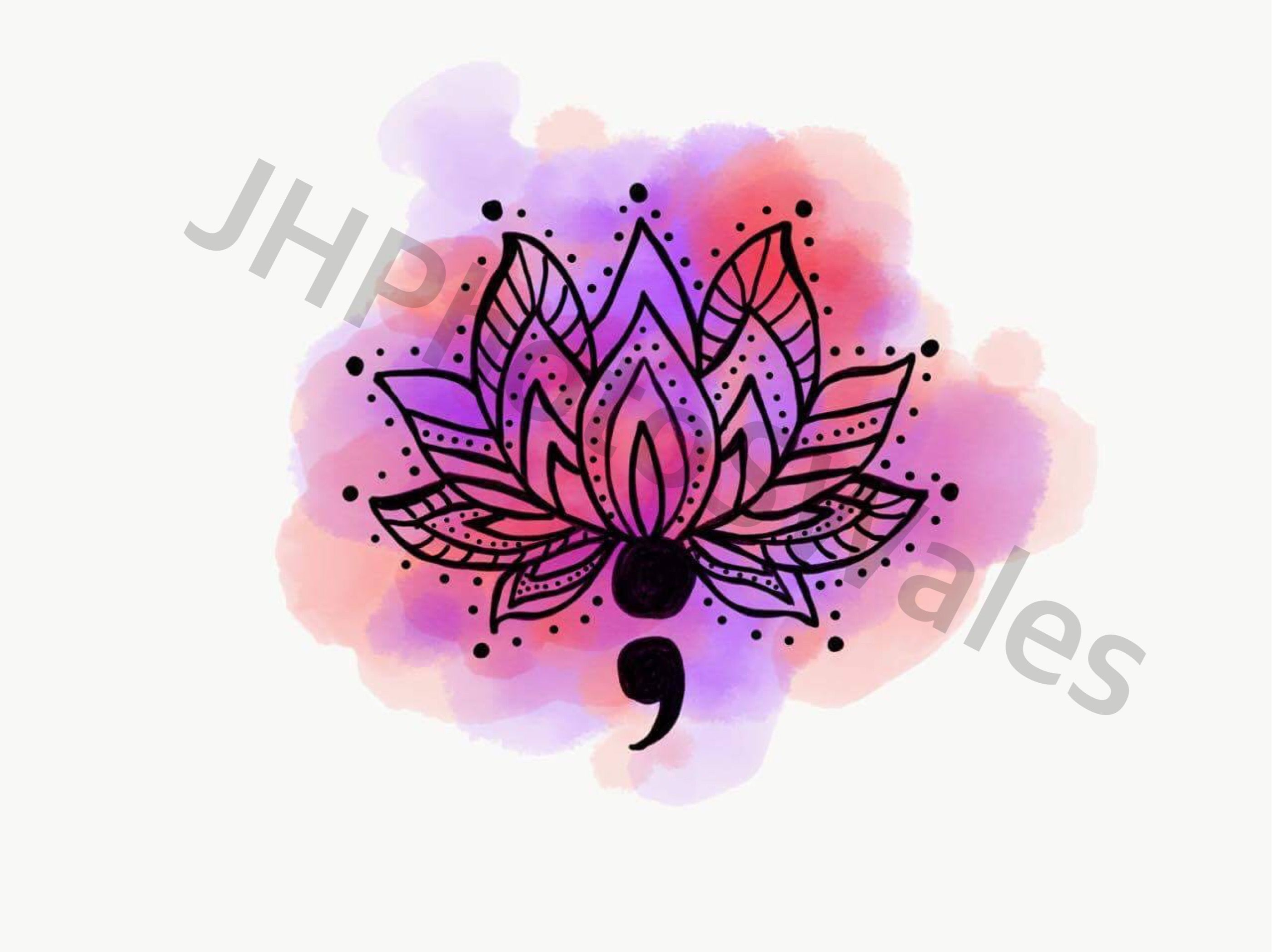 Lotus Flower And Semi Colon Semicolon Tat Pinte
