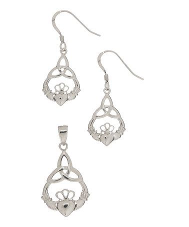 Look what I found on #zulily! Sterling Silver Claddaugh Celtic Pendant & Drop Earrings by Celebrate with Silver® #zulilyfinds