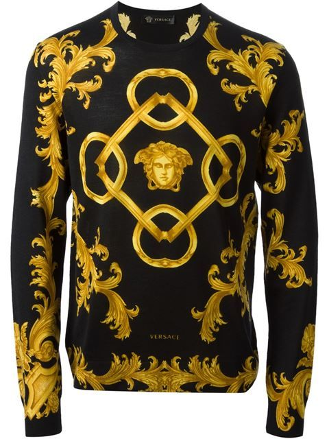 Shop Versace Baroque Sweater In Luisa Boutique From The World S Best Independent Boutiques At Farfetch Versace Men Fashion Models Men Designer Clothes For Men