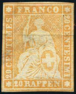 Switzerland, 1857, Sitting Helvetia, 20rp Green Silk Threads on Thin Paper, #34, unused. Margins to touching, small thin spots, silk thread ...