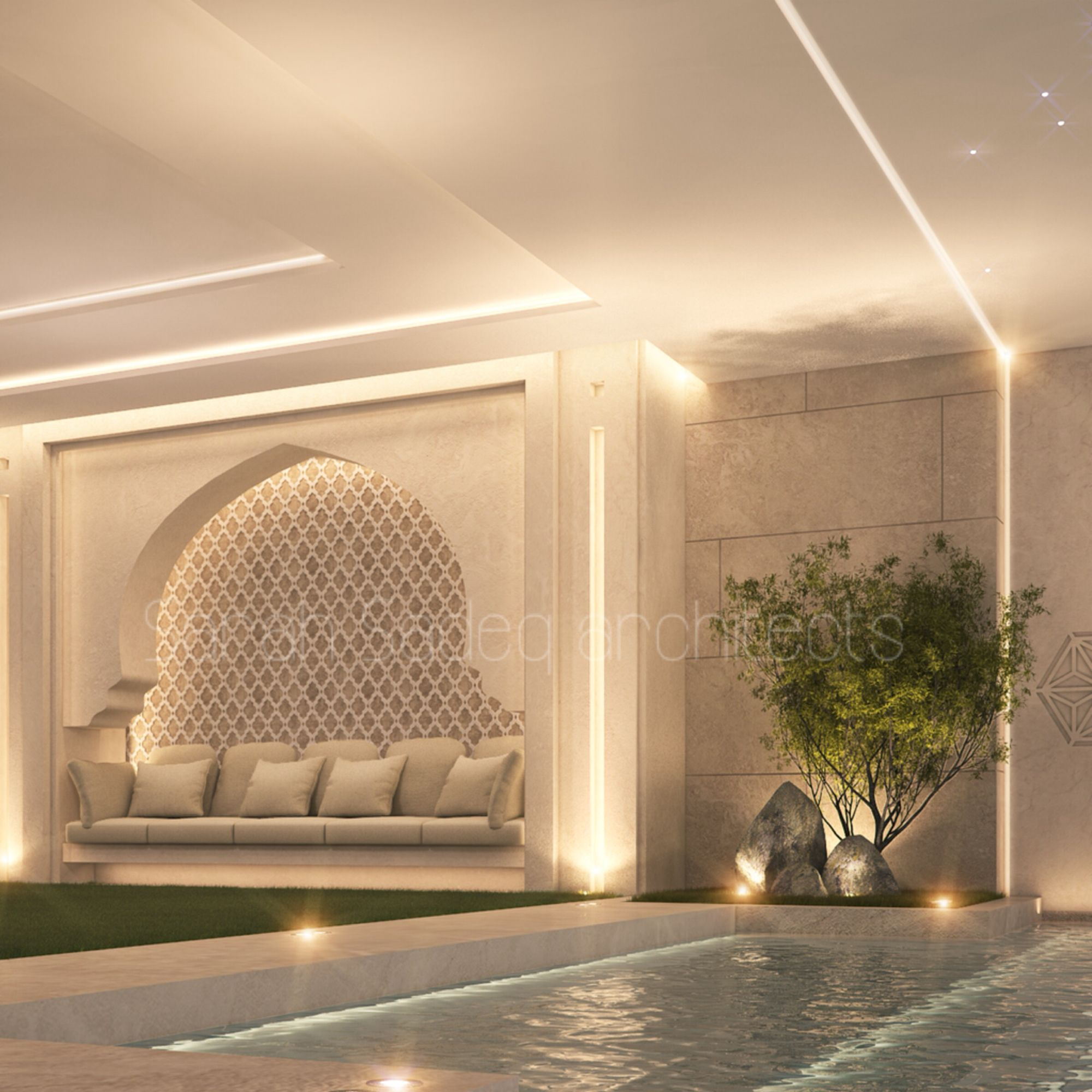 Private Villa Sarah Sadeq Architects Kuwait: Pool Seating Private Villa Kuwait Sarah Sadeq Architects