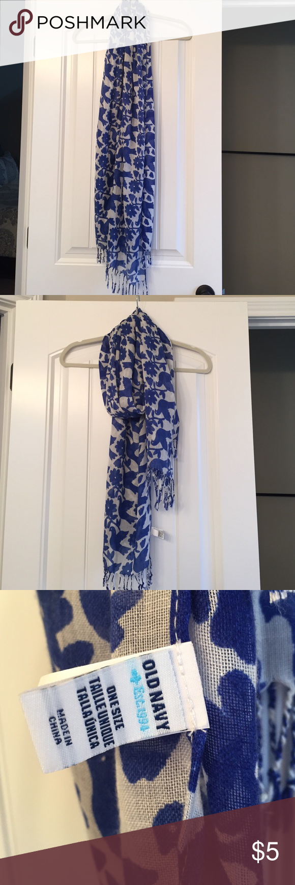 Old Navy blue and white bird print scarf Old navy blue and ...