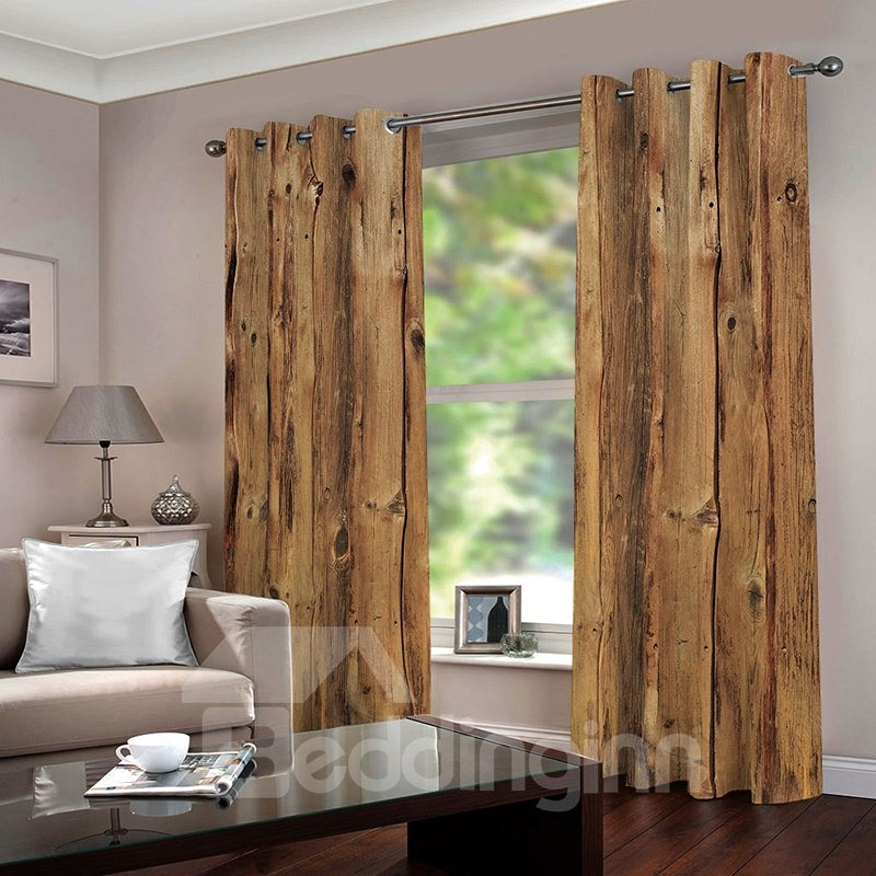 3d Printed Rustic Country Barn Wood Door Vintage Rustic Theme Blackout Curtain Wood Doors Curtains Rustic Theme