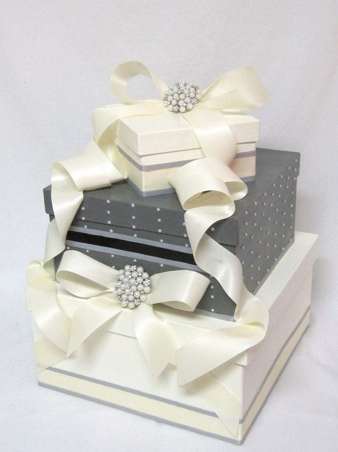 Wedding Card Box with pearls and brooch as featured in \