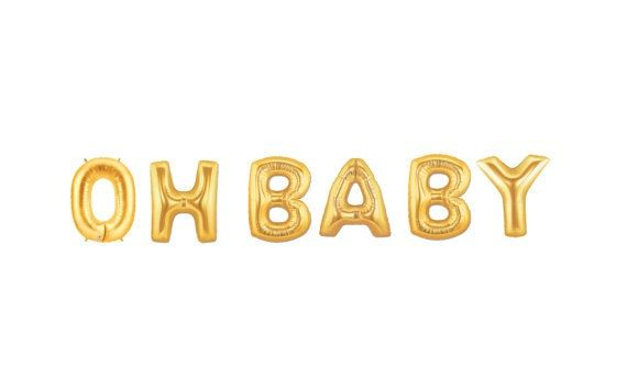 Oh Baby Balloon Kit Gold Foil Balloon Party Decor Baby Shower Welcome Baby 16 Inches 40cms Ready To Ship