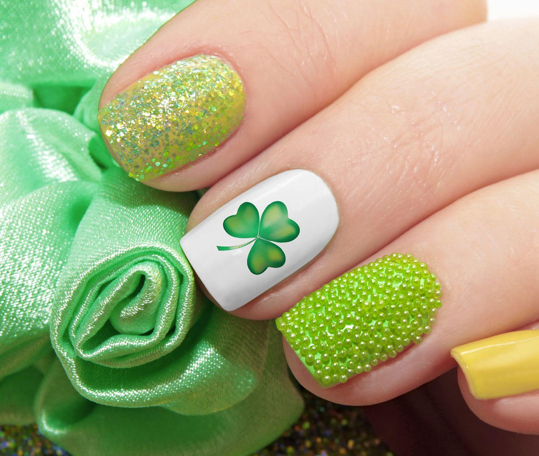 St. Patrick\'s Day Nail Art Decals Set #1   Diseños de uñas, Uña ...