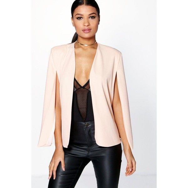b583eac2145 Boohoo Mia Cape Blazer ( 30) ❤ liked on Polyvore featuring outerwear