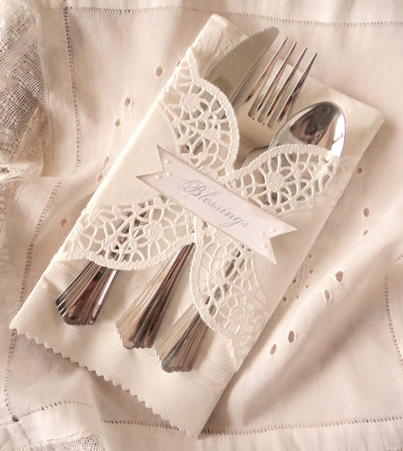 Table blessings twelve doily wrapped dinner place for Place setting ideas