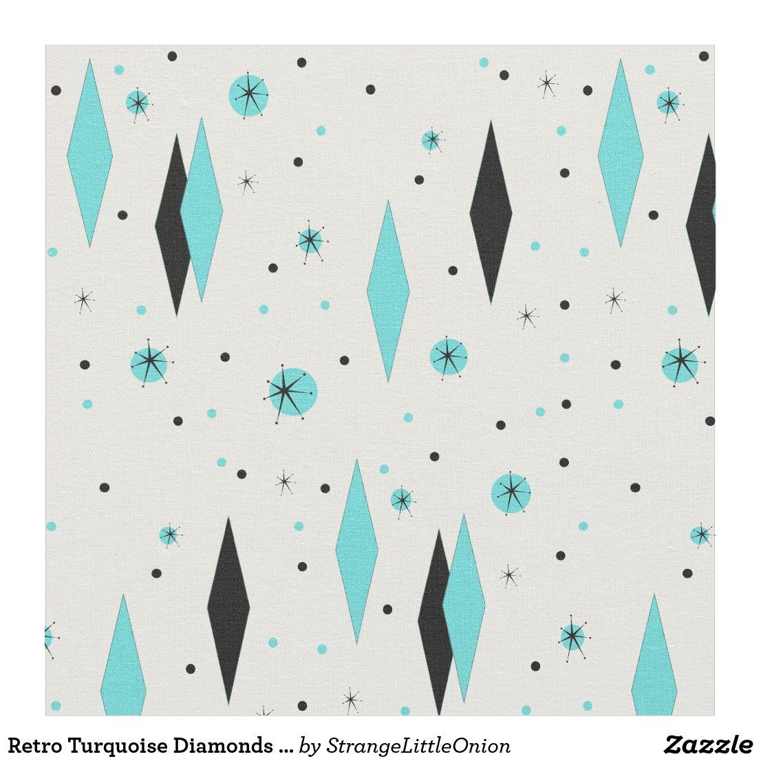 Retro Turquoise Diamonds And Starbursts Fabric
