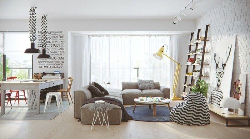 cool skandinavisch wohnen Wohnzimmer Möbel und Deko skandinavischer