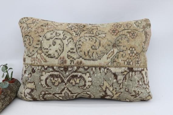 Handmade Pillow, Wholesale Pillow, Anatolian Pillow, Pillow Cover 16x24, Patchwork Pillow,Beige Pill