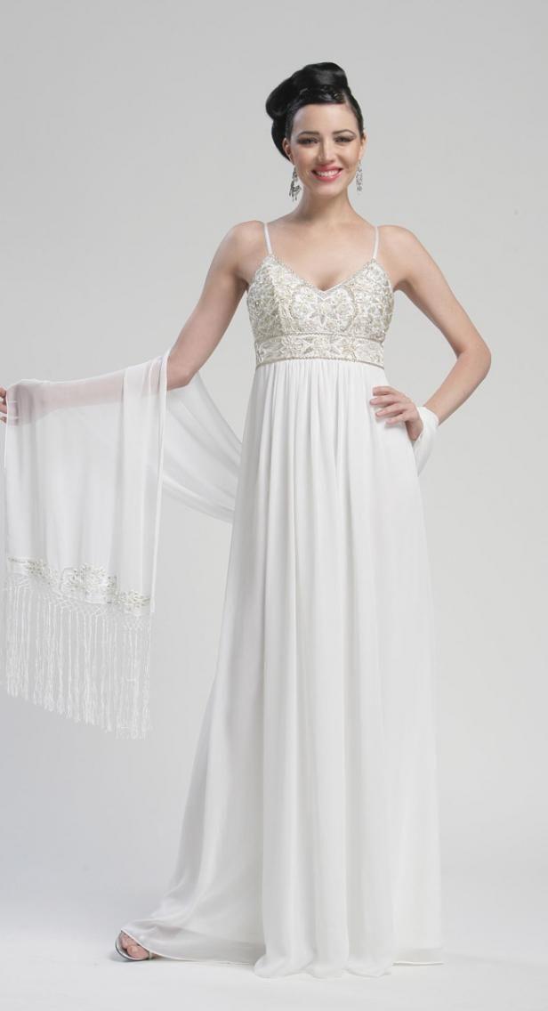 Sue Wong Dress N3141 White Floor Length Beaded Empire Gown