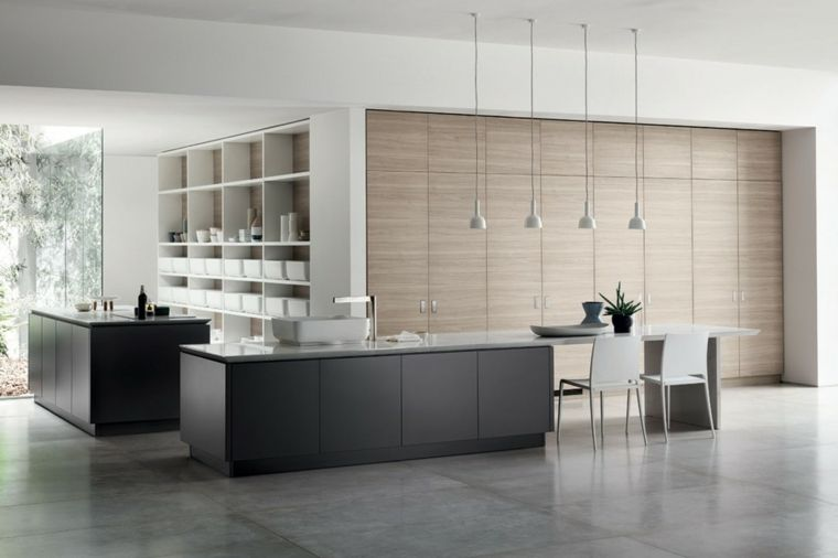 esempio di arredamento cucina moderna con mobili scuri, tavolo e ...