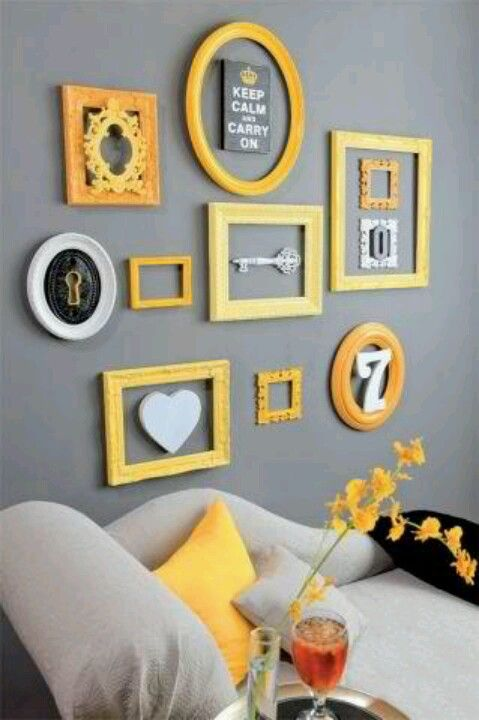 Cute Wall Art Love The Color Contrast Living Room Decor Yellow And Grey