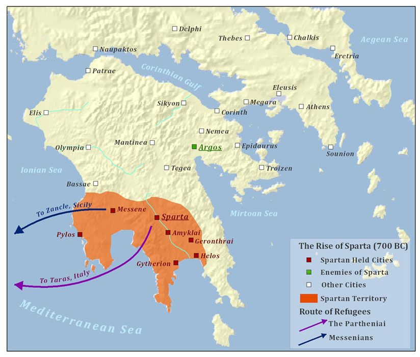 sparta location on world map Rise Of Sparta 700bce Historical Maps Sparta Map Sparta