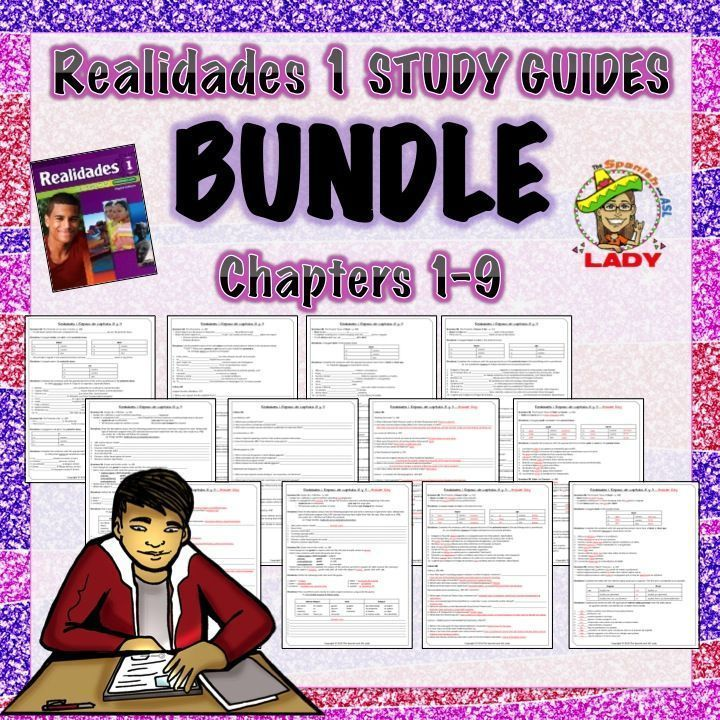 REALLY GOOD Review Sheets for Every Chapter of the Realidades 1 Spanish Textbook