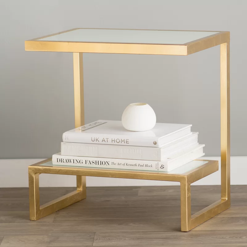 Rex Glass Top Sled End Table with Storage in 2020   End ...