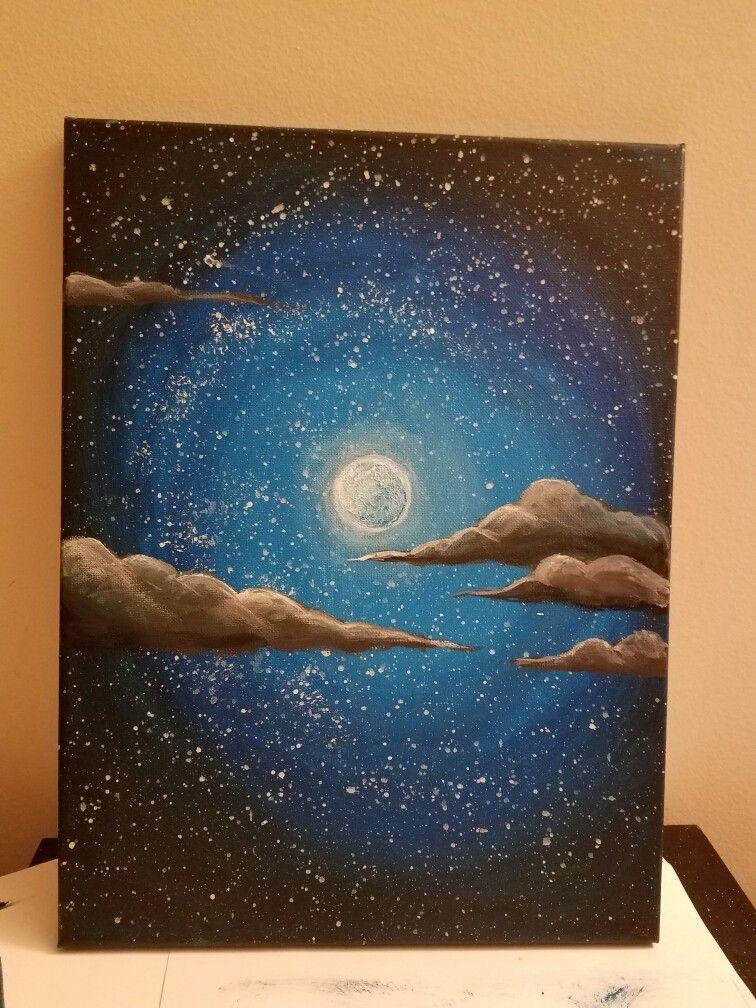 Night Sky Painted Very Quick And Easy Sky Paint Tuval Sanati Tuval Resimleri Sanatsal Resimler
