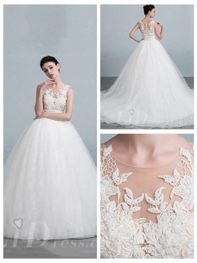 cbbbeb7d29e Illusion Neckline Ball Gown Wedding Dress with Illusion Back ...